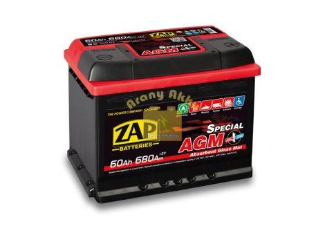 ZAP AGM 60AH 680A START-STOP Jobb+