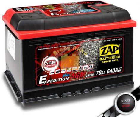 ZAP AGM 70Ah 640A  START-STOP Jobb+