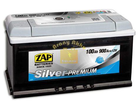 Zap Silver Premium 12v 100ah 900A Jobb+ normál saru autó akkumulátor