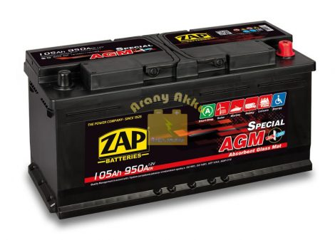 ZAP AGM 105Ah 950A START-STOP Jobb+