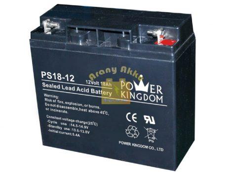 Power Kingdom 12V 18Ah VRLA riasztó/szünetmentes akkumulátor