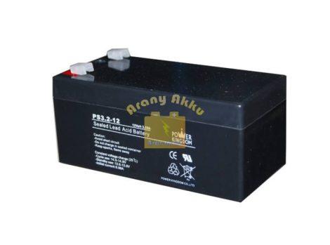 Power Kingdom 12V 3,2Ah VRLA riasztó/szünetmentes akkumulátor
