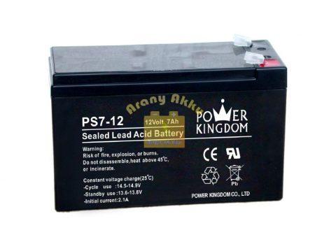 Power Kingdom 12V 7Ah VRLA riasztó/szünetmentes akkumulátor