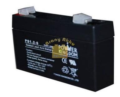 Power Kingdom 6V 1,2Ah VRLAriasztó/szünetmentes akkumulátor
