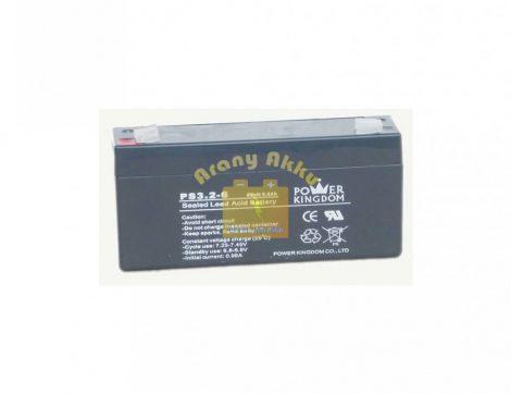 Power Kingdom 6V 3,2Ah VRLA riaszó/szünetmentes akkumulátor